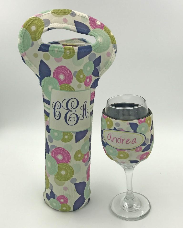 Wine tote and glass koozie