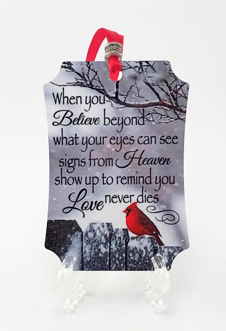 Believe cardinal ornament