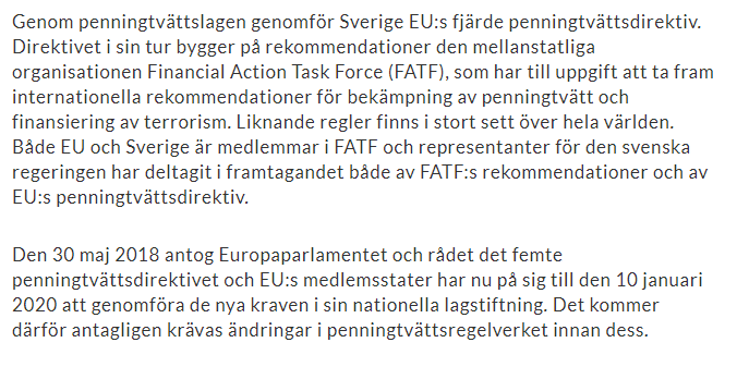 financial task force -eu frågor banker