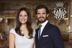 Sofía, la nueva princesa de Suecia, al lado de su prometido el príncipe Carlos Felipe, en el salón «Vita Havet» (Mar Blanco) del Castillo Real de Estocolmo. (Foto Mattias Edwall - Kungahuset.se)
