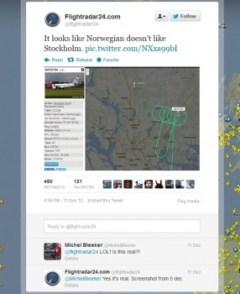 En la cuenta de Flightradar24 de Twitter empezó todo (Foto: captura) PULSAR PARA AMPLIAR