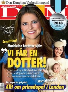 El bebé será una niña. Así lo adelantó la revista Svensk Damtidning el pasado 30 de octubre. (Foto: Captura)