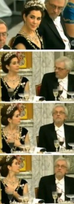 El finlandés Pentti Arajarvi pillado mirando el canalillo de la princesa Mary de Dinamarca. (Foto: capturas TV2)