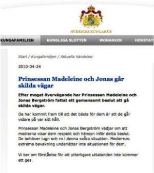 Este es el comunicado oficial de la ruptura. Traducción en el texto de la noticia. (Foto: Captura web Casa Real)