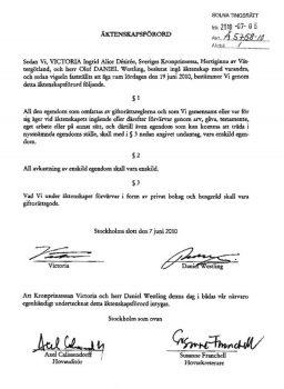 Copia del documento de la separación de bienes de Victoria y Daniel de Suecia. (Foto: Fax, juzgado de Solna) - PULSAR PARA AMPLIAR -