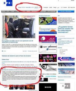 Noticia de última hora en la página web de EFE (Foto: Captura de pantalla)