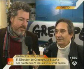 Imagen de la entrevista en directo desde Copenhague con Juan López de Uralde. (Foto: Captura TV - © JMNoticias)