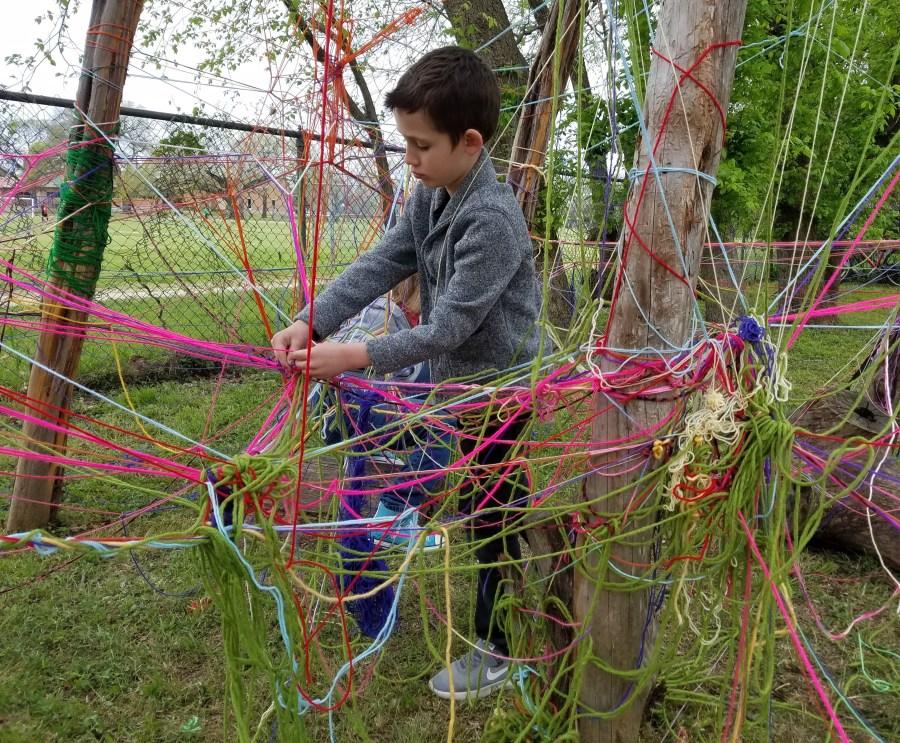 Yarn webs were woven.