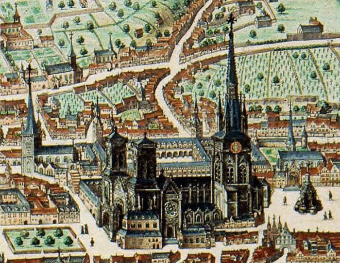 Carte de Liège de Blaeu, Cathédrale Saint Lambert de Liège, Détail, 1649