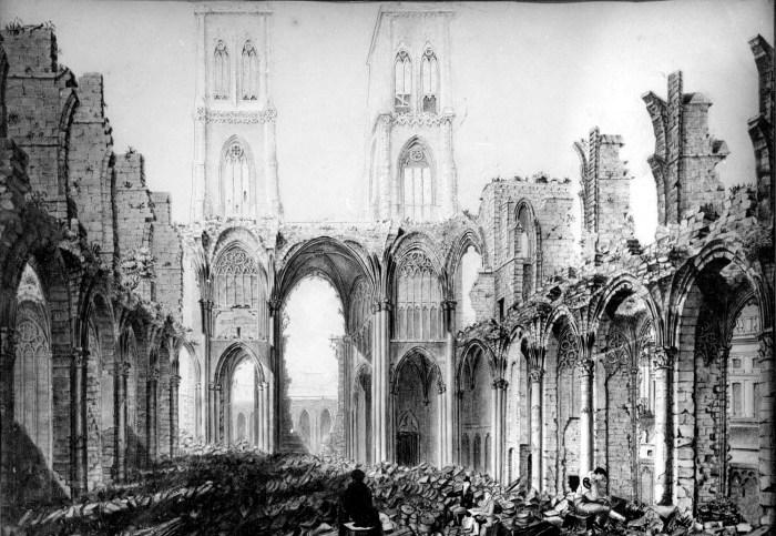 Jean Deneumoulin, Ruines de Saint Lambert's Cathedral, 1802 détruite durant la Liège Revolution 1789-91.