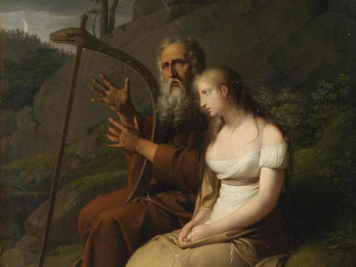 Johann Peter Krafft, Ossian jouant de la harpe et chantant pour Malvina, 1810