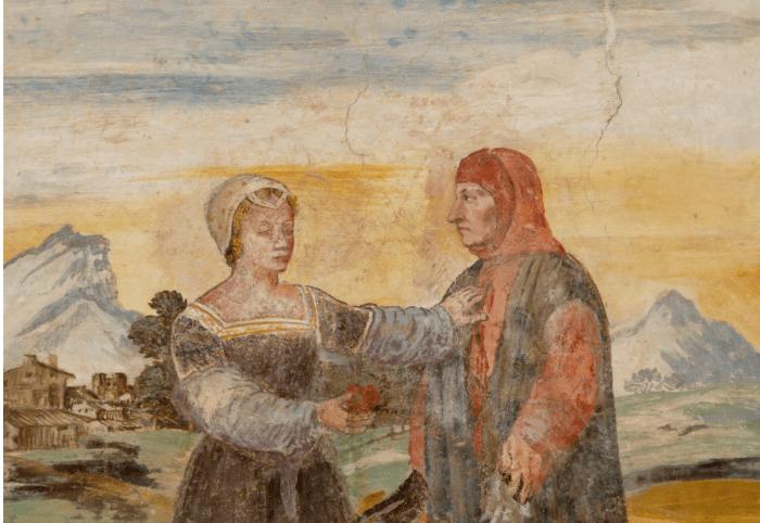 17a. Pétrarque et Laure, Fresque dans la Maison de Pétrarque à Arquà Petrarca