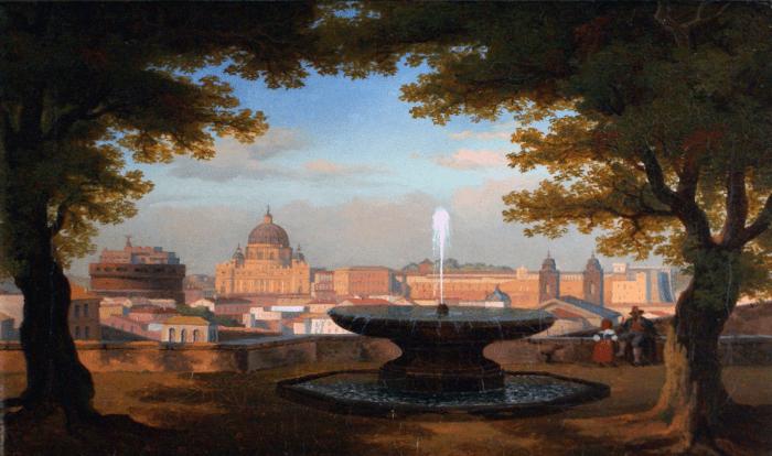 34. École française 19ème S. Vue de la Fontaine de la Villa Medicis