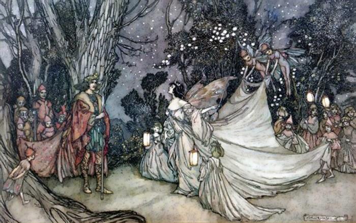 38b. Arthur Rackham , La rencontre d'Obéron et Titania, illustration de 1905