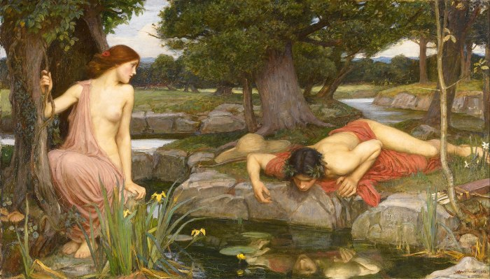 59e. John William Waterhouse, Echo et Narcisse, 1903.