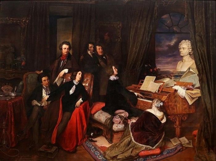 69a. Joseph Danhauser, Franz Liszt au piano.