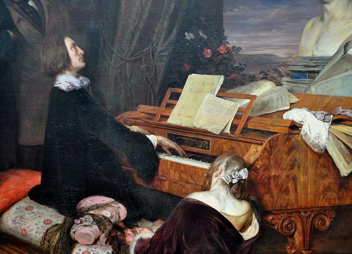 69c. Joseph Danhauser, Franz Liszt au piano, 1840, détail.