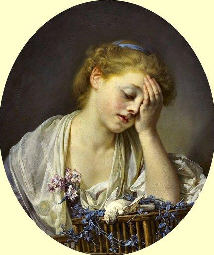 75b. Jean-Baptiste Greuze (1725-1805), Jeune fille avec un canari mort, 1765