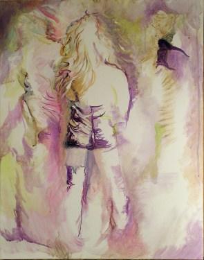 443-04, Chanteuse inconnue, acrylique, 22×28 po (55×70 cm), 2015-02-17