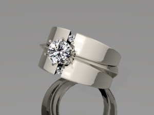 White Gold Brilliant Diamond Centre Ring