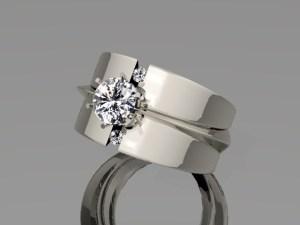 White Gold Brilliant Diamond Centre Ring
