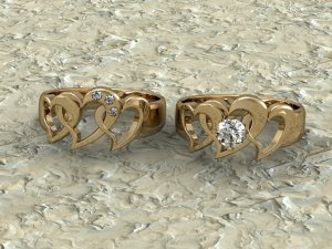 Yellow Gold Hearts & Diamonds Rings
