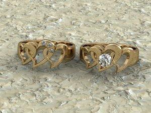 Yellow Gold Hearts & Diamonds Rings