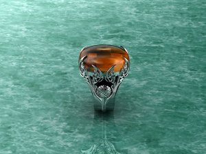 White Gold Celtic Winged Fire Opal? Ring