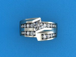 White Gold Multi Diamond Princess Cut Centre Stoned Ring