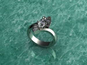 White Gold Diamond Accented Ring