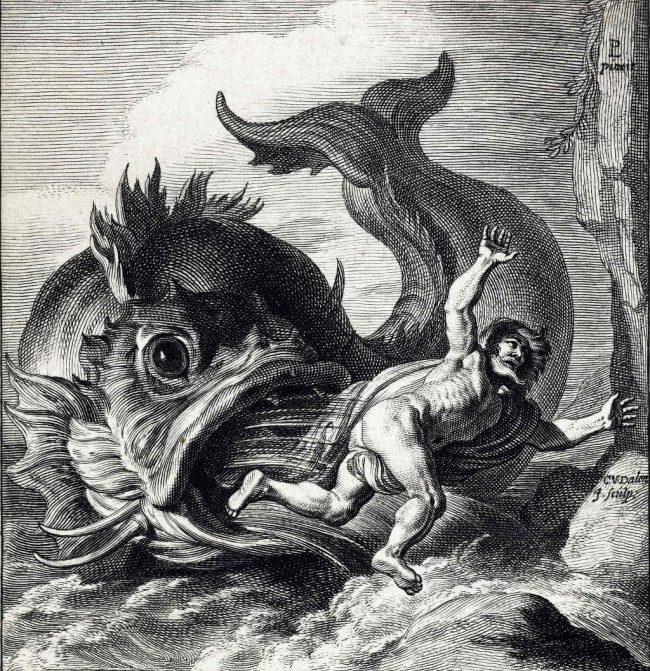 Edited illustration/print from the Rijksmusuem titled Jonas uitgespuwd door de walvis by Cornelis van Dalen. CC 2.0 https://flic.kr/p/q7bVvj