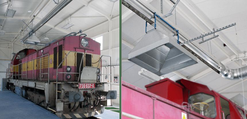 Systémy odsávání výfukových plynů pro lokomotivy a drážní vozidla