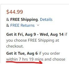 Amazon time bound offer on shipping