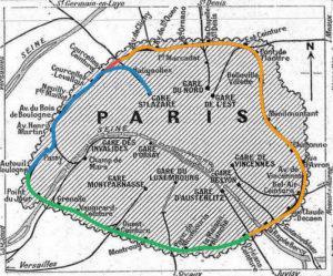 Carte de Paris montrant les différentes sections de la Petite Ceinture