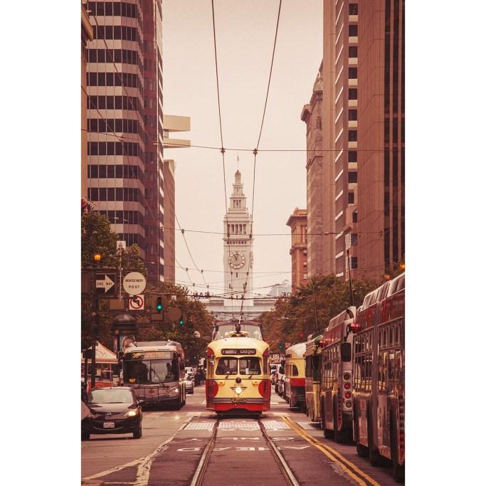 San Francisco streetcar Market Street perspective