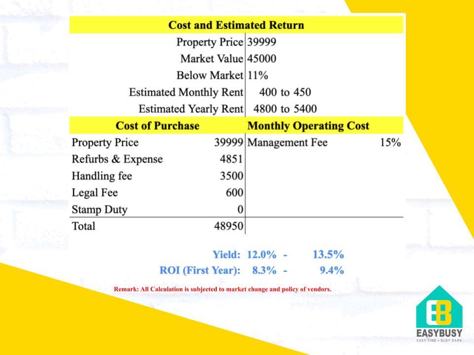 20200806   Cost & Estimated Return of UK Property Investment   JiaYu