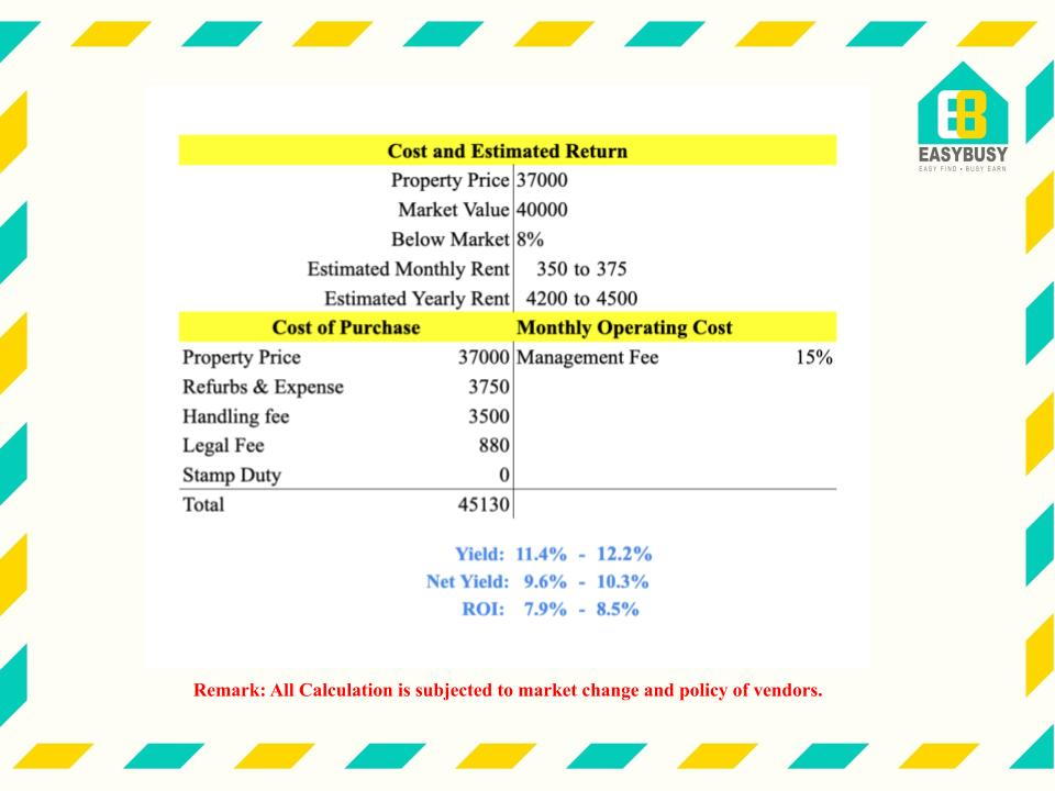 20200911-2 | Cost & Estimated Return of UK Property Investment | JiaYu