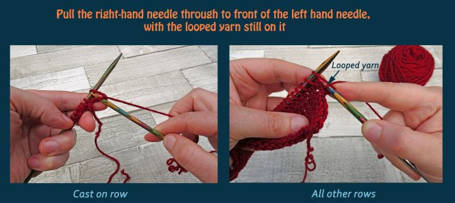 Learn to knit the knit stitch - step 3