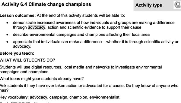 climate activities, school, education