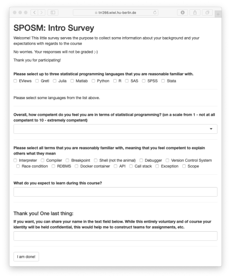 Screen shot of survey page