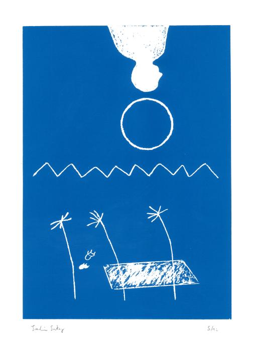 joachim_sontag_sérigraphie_dessin_bleu_décoiffé