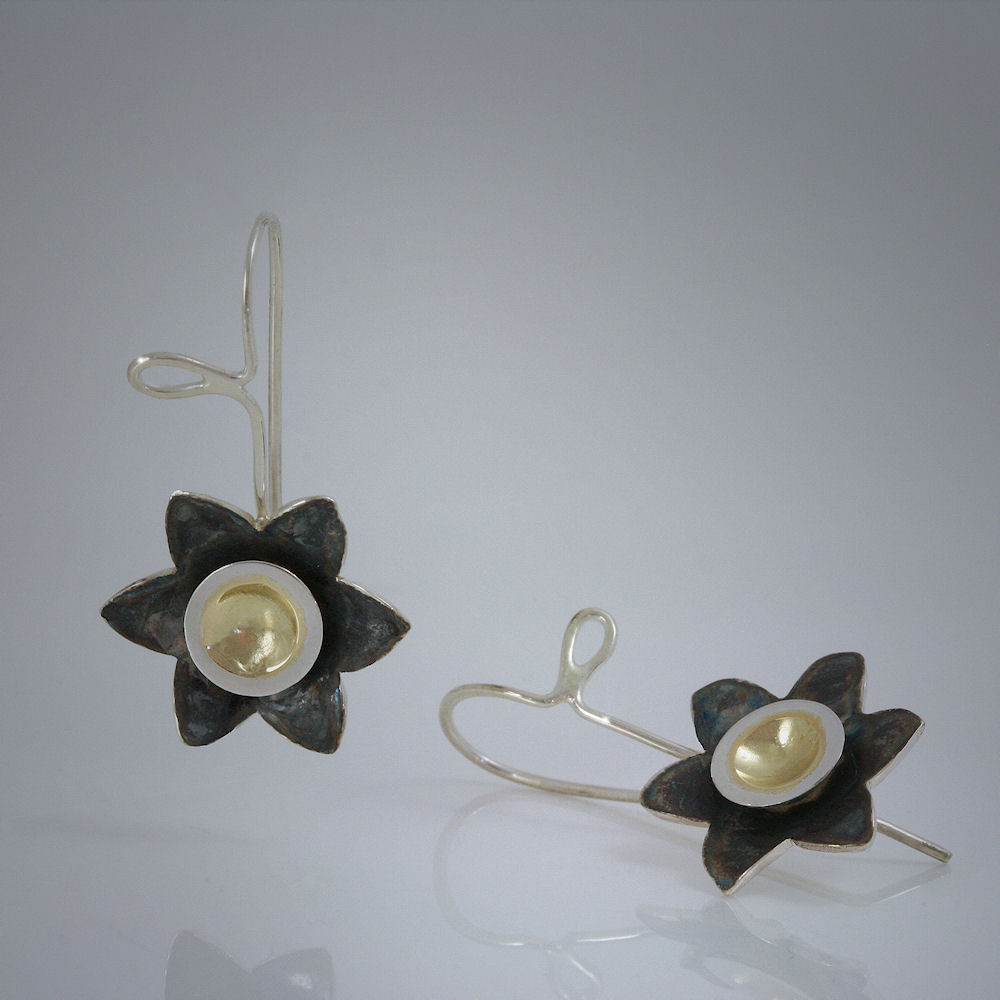18K yellow gold and tarnish-resistant Argentium Sterling Silver earrings