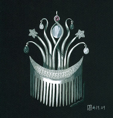 Moon stone, diamond, platinum, pearl and ruby comb rendering by Joana Miranda