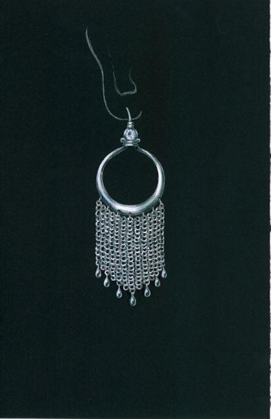 Chain Maille Chandelier Earring Rendering by Joana Miranda