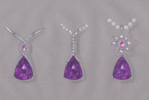 Fancy Cut Amethyst Pendant Rendering by Joana Miranda