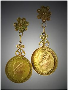 16K Yellow Gold Roman Coin Earrings by Gil Miranda