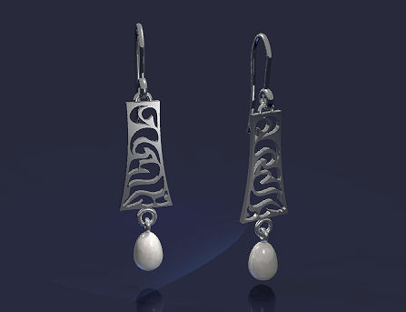 CAD rendering for Piano Arts Gala earrings by Joana Miranda