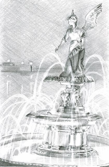 Pencil Drawing of Driehaus Family Fountain by Joana Miranda