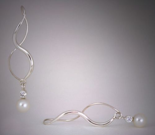 Argentium Sterling Silver, Akoya Pearl and Moissanite Earrings