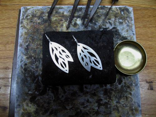 Autumn Earrings (from Shadows Collection) in process at Joana's bench